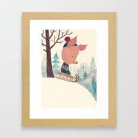 Winter pig Framed Art Print