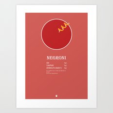 Negroni Cocktail Recipe Poster (Imperial) Art Print