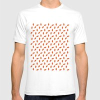 Orange Leaves Mens Fitted Tee White SMALL
