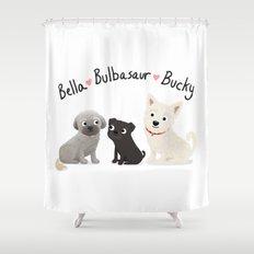 Custom Dog Art- Bella, Bulb, Bucky Shower Curtain