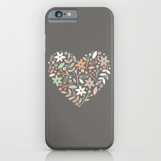 Floral Heart - in Charcoal iPhone & iPod Case