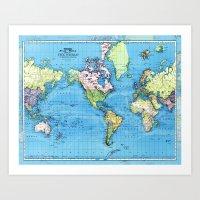 Mercator Map Of Ocean Cu… Art Print