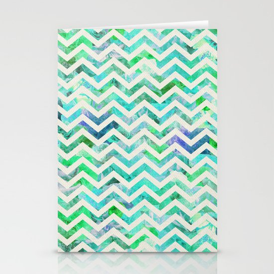 GREEN FLORAL CHEVRON Stationery Card