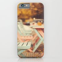 iPhone & iPod Case featuring Dream Autumn (Pink and blue coffee shop chairs on retro and vintage fall) by AC Photography