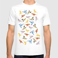 Vintage Wallpaper Birds Mens Fitted Tee White SMALL