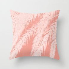 Pink Palm leaves Throw Pillow