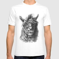 Cute Llama G2013-068 Mens Fitted Tee SMALL White