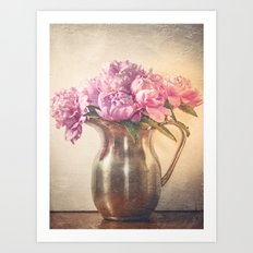 Pitcher of Peonies -- Still Life with Flowers Art Print