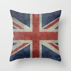England's Union Jack (3:5 Version) National flag of the United Kingdom - Vintage retro version Throw Pillow