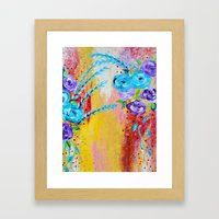 MORE IS MORE - Gorgeous Floral Abstract Acrylic Bouquet Colorful Ikat Roses Summer Flowers Painting Framed Art Print
