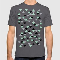Triangles Mint Grey Mens Fitted Tee Asphalt SMALL