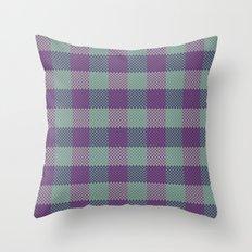 Pixel Plaid - Dark Seas Throw Pillow