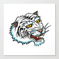 Traditional White Bengal Tiger Canvas Print