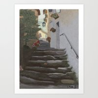 Italian Street and Stairs  Art Print