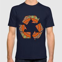 Mandala Aztec Pattern Mens Fitted Tee Navy SMALL