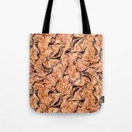 Orange,Black Marbling Tote Bag