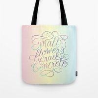 Small Flowers Crack Concrete Tote Bag
