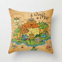 World Map - Mario RPG Throw Pillow