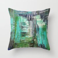 AQUATIC COMMOTION in Color - Textural Ocean Beach Nautical Abstract Acrylic Painting Wow Winter Xmas Throw Pillow