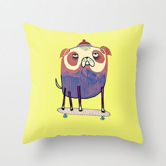 Pug Dude. Throw Pillow