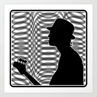 Bass Guitar Player Silhouette B/W Art Print