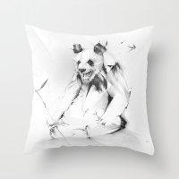 Bad Panda Throw Pillow