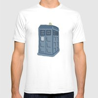 Abstract TARDIS Mens Fitted Tee White SMALL