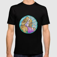 Rapunzel Art Nouveau White Background Black SMALL Mens Fitted Tee