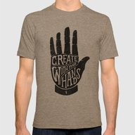 CREATE WITH YOUR HANDS Mens Fitted Tee Tri-Coffee SMALL
