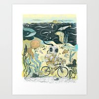 Cycling In The Deep Art Print