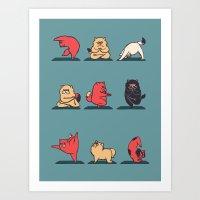 Cat Yoga Art Print
