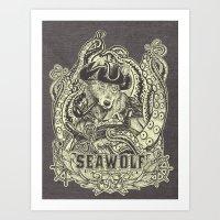 SeaWolf Woodcut Art Print