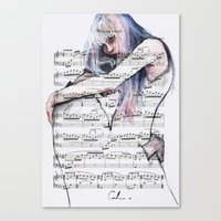 Waiting Place on sheet music Canvas Print