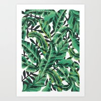 forest Art Prints featuring Tropical Glam Banana Leaf Print by Nikki
