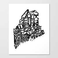Typographic Maine Canvas Print