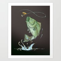 Bass Jumping At Night Art Print