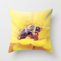 Bee On Yellow Throw Pillow