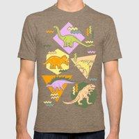 Nineties Dinosaur Pattern version 2. Mens Fitted Tee Tri-Coffee SMALL