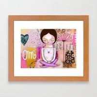 Om meditation woman Framed Art Print