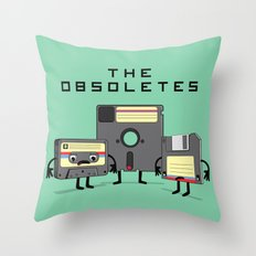 The Obsoletes (Retro Floppy Disk Cassette Tape)  Throw Pillow