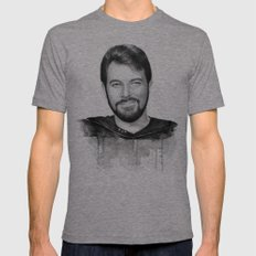 Commander William Riker Mens Fitted Tee Tri-Grey SMALL
