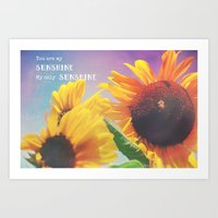 sunshine Art Prints featuring Sunshine by Olivia Joy StClaire
