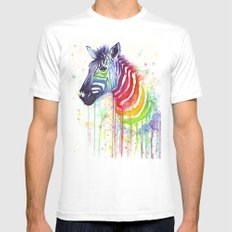 Zebra Watercolor Rainbow Painting | Ode to Fruit Stripes Mens Fitted Tee White SMALL