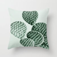 Green Bunny Ears Cactus  Throw Pillow