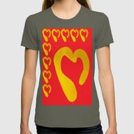 Gold Hearts On Red Womens Fitted Tee Lieutenant SMALL