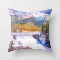 Waterfall and Mountain Throw Pillow