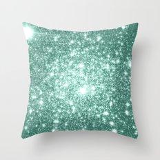Seafoam Blue Glitter Throw Pillow