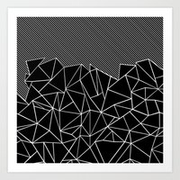 Ab Lines 45 Black Art Print