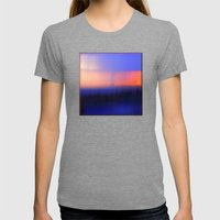 Abstract Sunset Womens Fitted Tee Tri-Grey SMALL