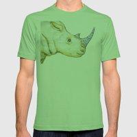 Striped Rhino Illustrati… Mens Fitted Tee Grass SMALL